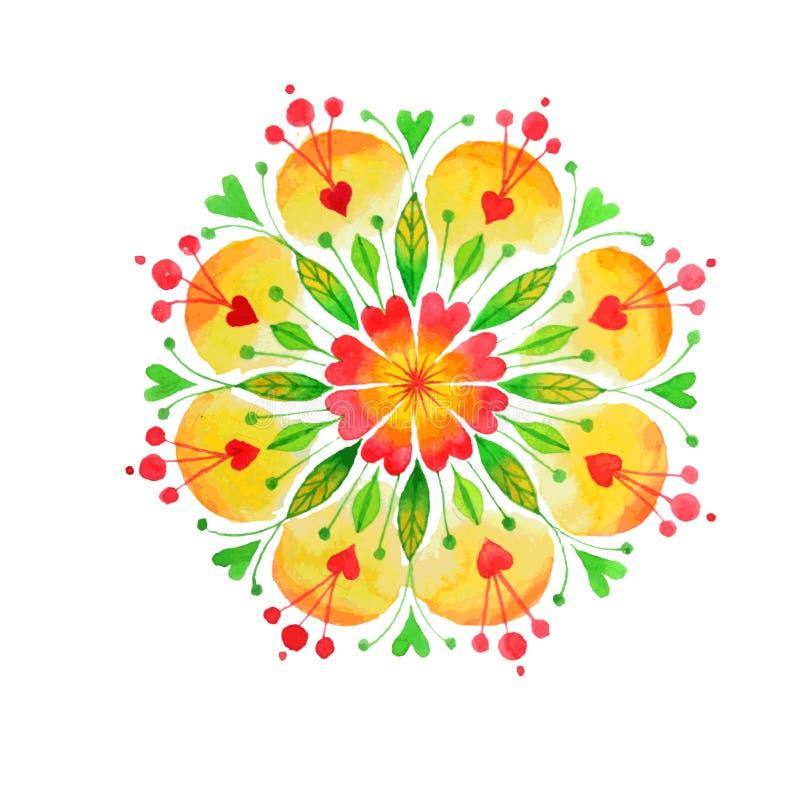 Mandala disegnata a mano della natura del cuore royalty illustrazione gratis