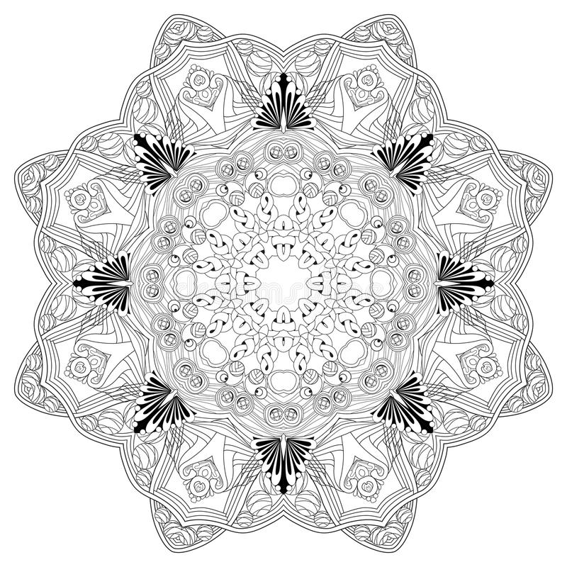 Mandala disegnata a mano dello zentangle per la pagina di coloritura royalty illustrazione gratis