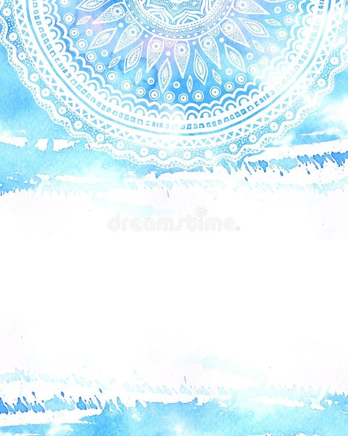 Mandala disegnata a mano sul fondo blu dell'acquerello con spazio per testo Ornamento indiano illustrazione vettoriale