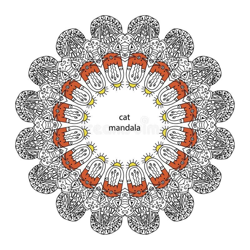 Mandala Divertida Del Gato Del Zentangle - Página Del Libro De ...