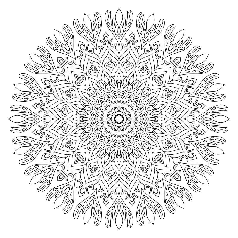 Mandala dla kolorystyki książki strony Abstrakcjonistyczny dekoracyjny round orname ilustracja wektor