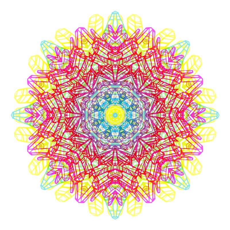 Mandala do arco-íris, estilo chique do boho, fundo dos retalhos Vector a ilustração, grande elemento do projeto para felicitações ilustração stock