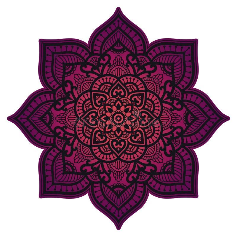 Mandala do inclinação Ornamento étnico do círculo Elemento redondo indiano tradicional tirado mão Hena espiritual da ioga da medi ilustração royalty free