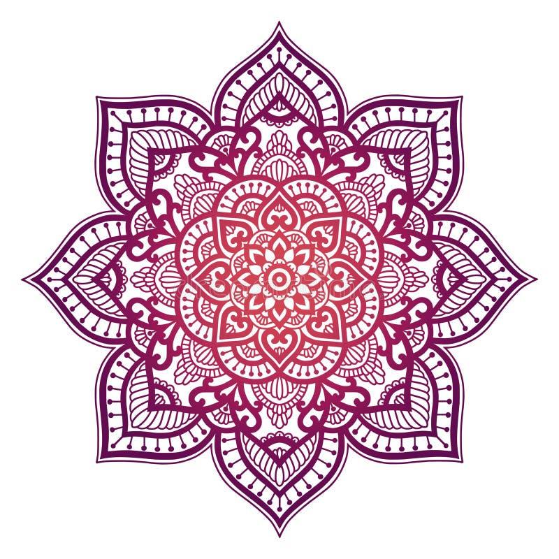 Mandala do inclinação Ornamento étnico do círculo Elemento redondo indiano tradicional tirado mão Hena espiritual da ioga da medi ilustração do vetor
