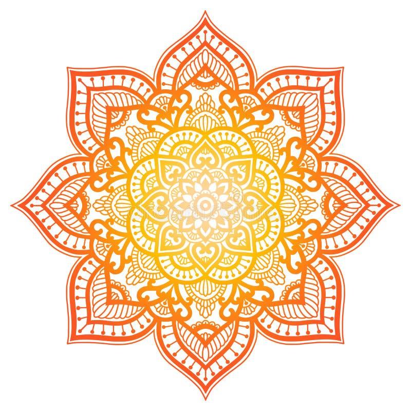 Mandala do inclinação Ornamento étnico do círculo Elemento redondo indiano tradicional tirado mão Hena espiritual da ioga da medi ilustração stock