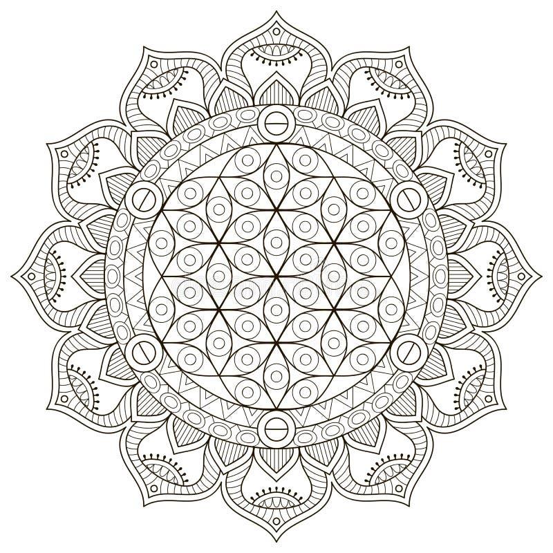 Mandala do indiano do vetor ilustração stock