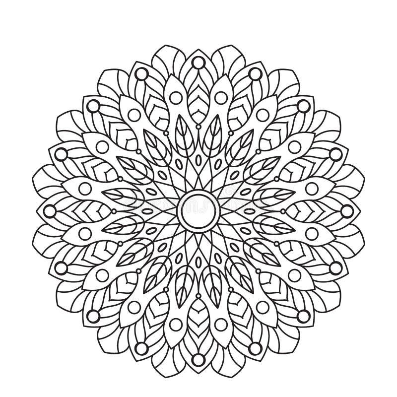 Mandala do livro para colorir Circunde o ornamento do laço, teste padrão decorativo redondo, projeto preto e branco ilustração royalty free