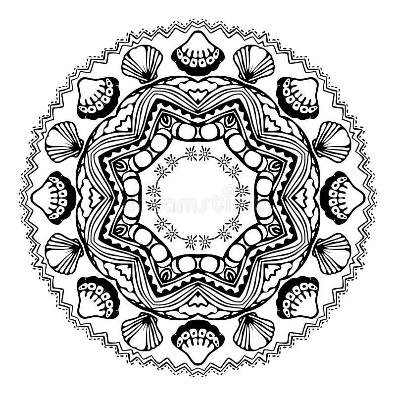 Mandala do Mar Negro com escudos do mar no fundo branco Elemento decorativo decorativo Ilustra??o do vetor ilustração do vetor