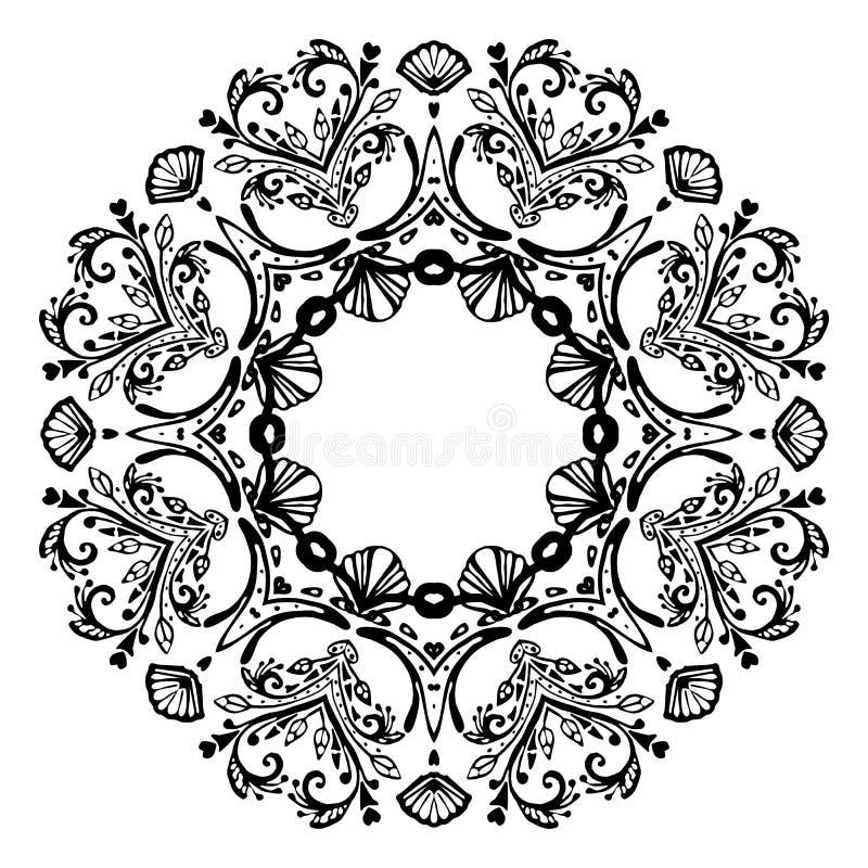 Mandala do Mar Negro com escudos do mar no fundo branco Elemento decorativo decorativo Ilustra??o do vetor ilustração royalty free