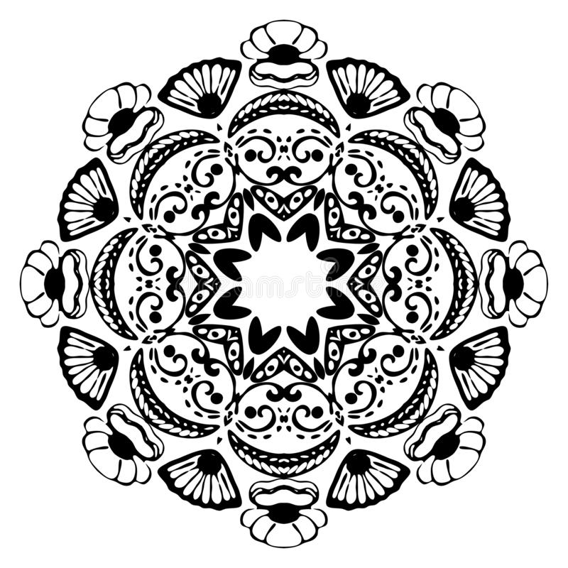 Mandala do Mar Negro com escudos do mar no fundo branco Elemento decorativo decorativo Ilustra??o do vetor ilustração stock