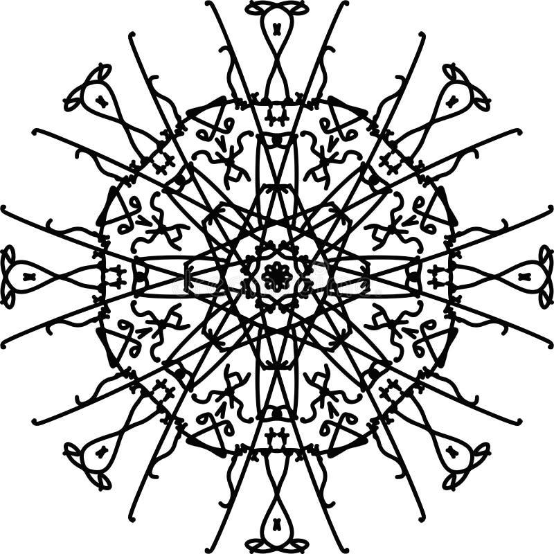 Mandala do octógono da flor da garatuja do ornamento em preto e branco ilustração royalty free