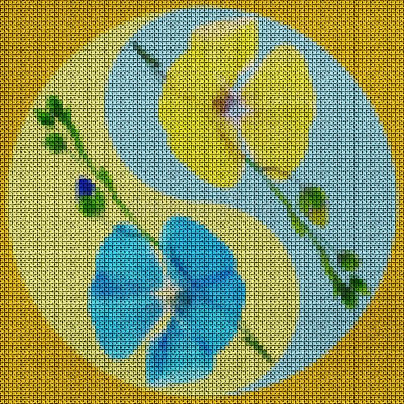 Mandala do ponto de cruz da ilustra??o das flores pressionadas secadas flax ilustração do vetor