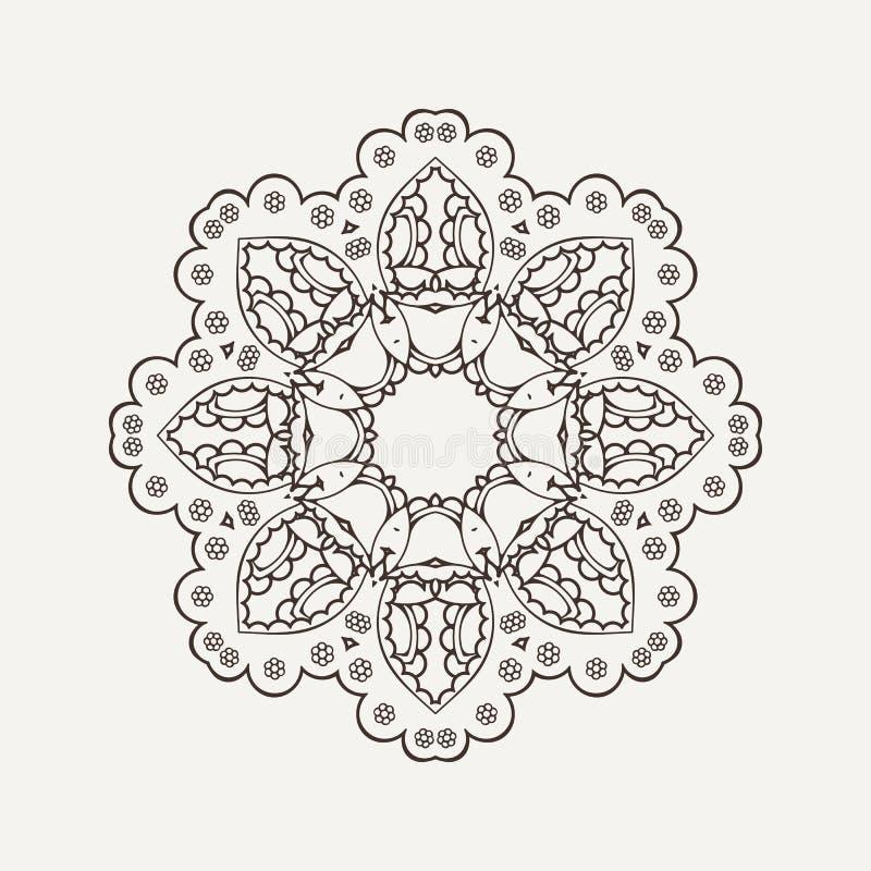 Mandala do vetor Tatuagem do laço de Mehndi Weave oriental ilustração royalty free