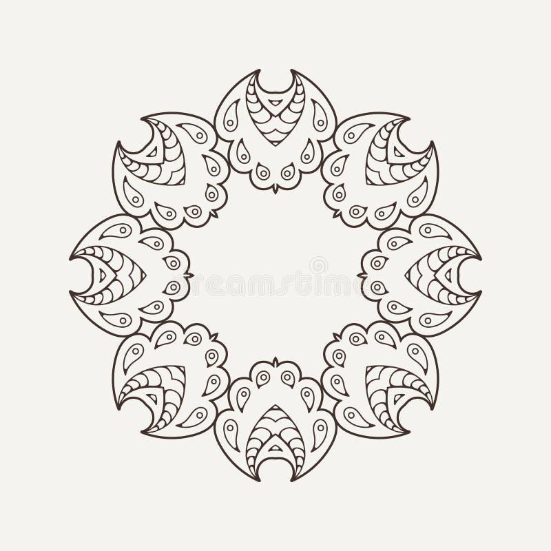 Mandala do vetor Tatuagem do laço de Mehndi Weave oriental ilustração do vetor