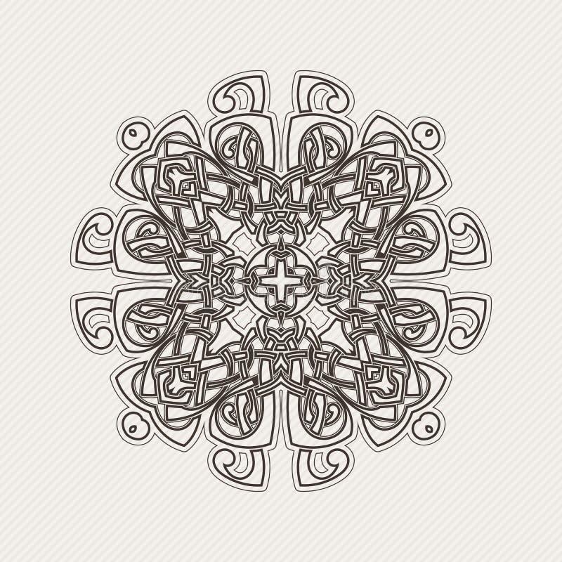 Mandala do vetor Tatuagem gótico do laço Weave celta com cantos afiados ilustração stock