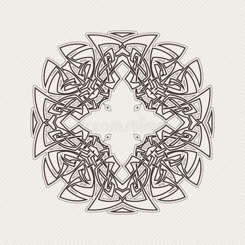Mandala do vetor Tatuagem gótico do laço Weave celta com cantos afiados ilustração royalty free