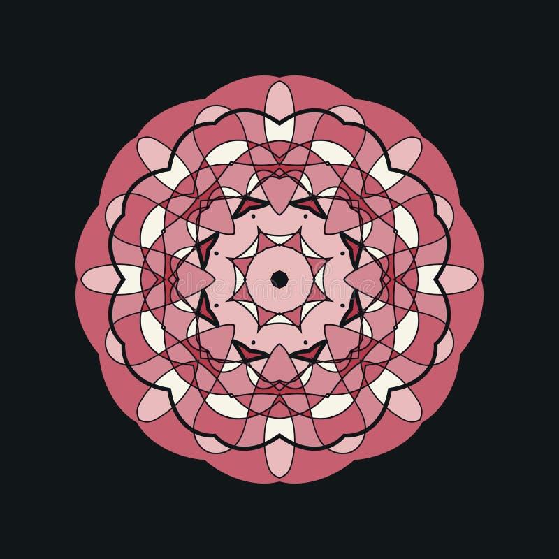 Mandala Doodle Drawing By Hand Ornamento redondo na cor de Brown ilustração stock