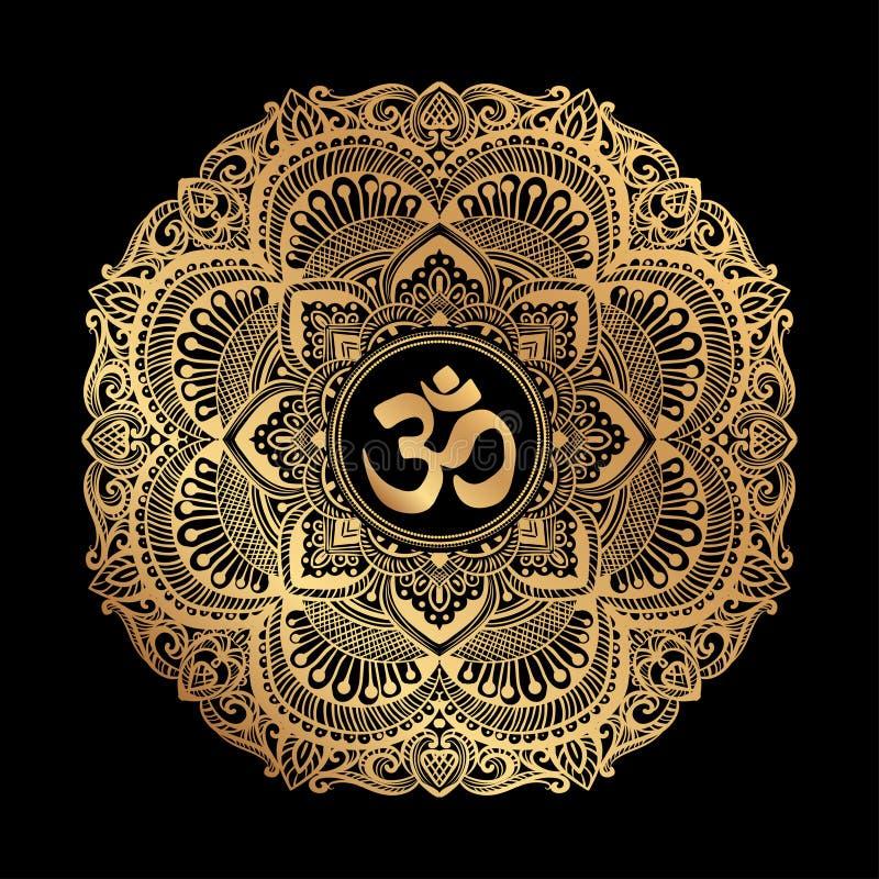 Mandala dourada de OM ilustração do vetor