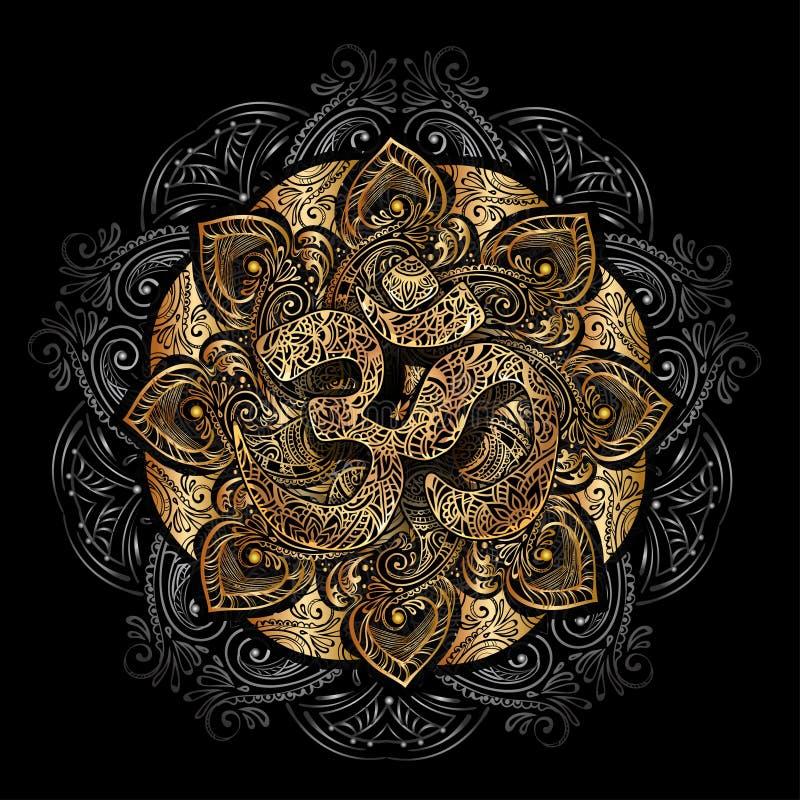 Mandala dourada de OM ilustração stock