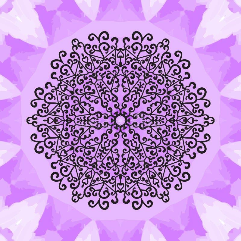 Mandala druk na Fiołkowym Bezszwowym tekstury tle Rocznika dekoracyjny element na niekończący się teksturze ręka patroszona ilustracji