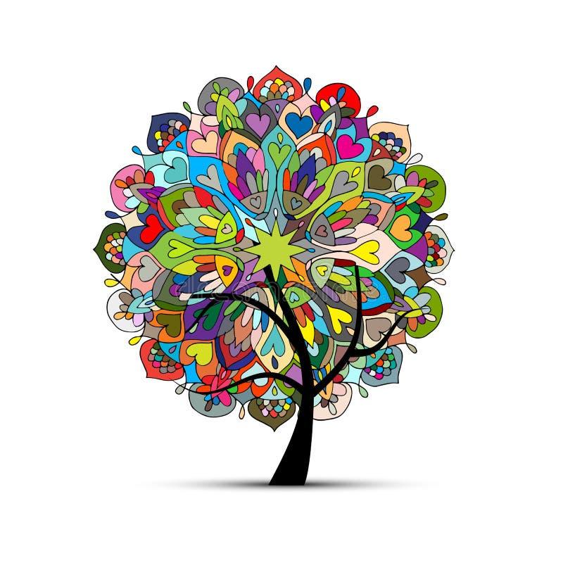 Mandala drzewo, kwiecisty nakreślenie dla twój projekta royalty ilustracja