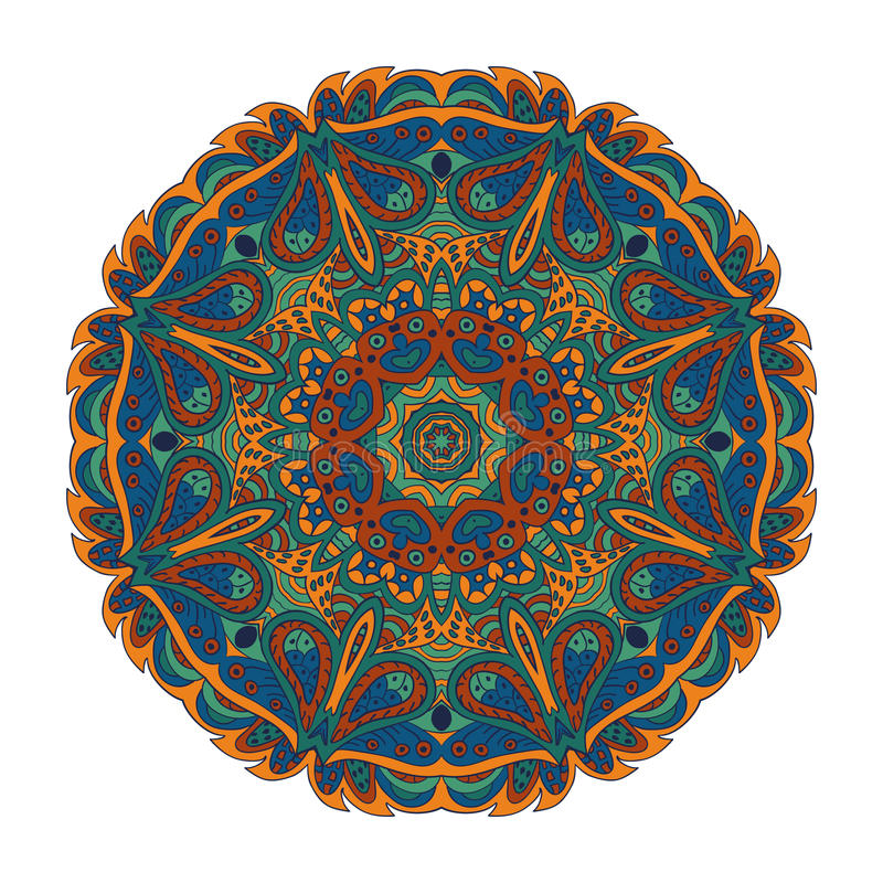 Mandala Eastern modell Zentangl rundaprydnad stock illustrationer