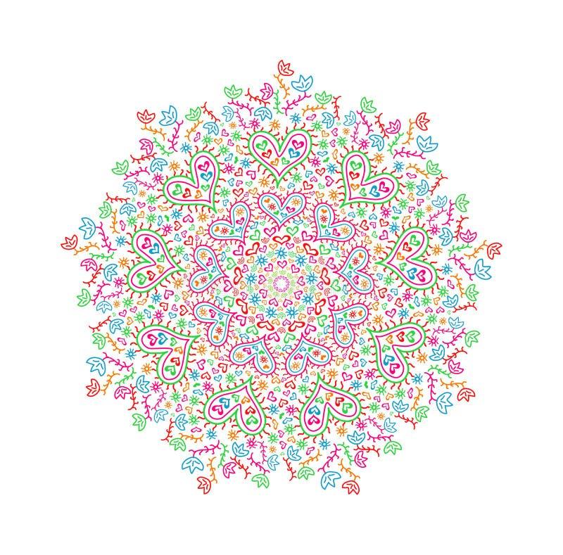 Mandala Element Colorée Avec Des Silhouettes De Coeur Et De Fleur ...