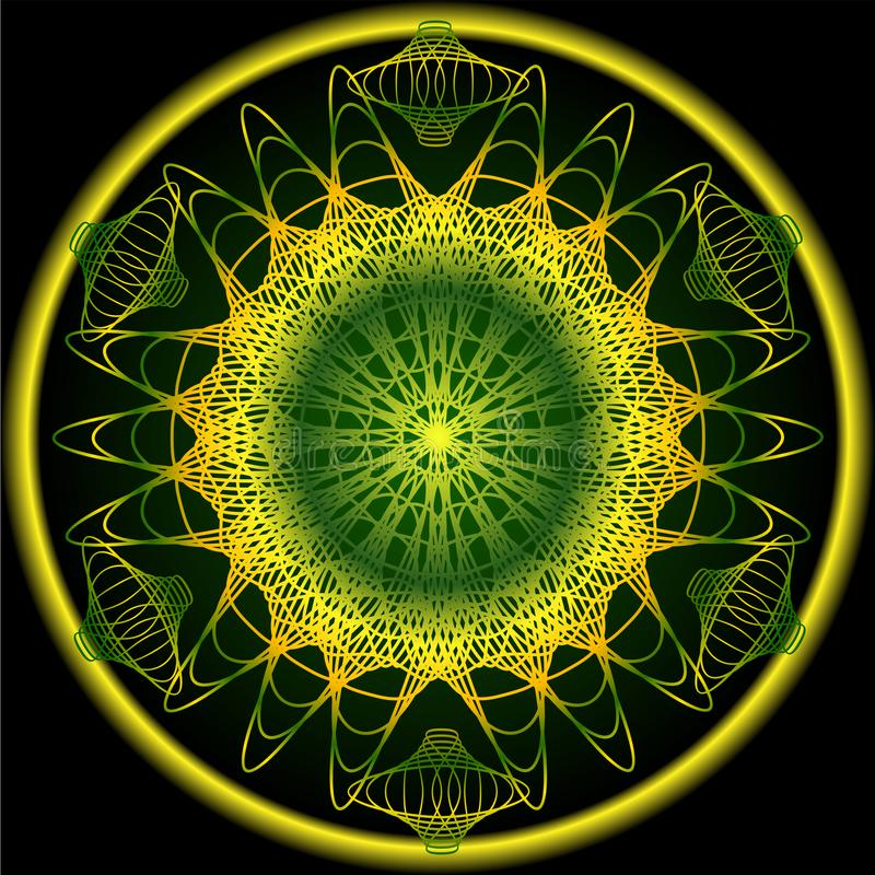 Mandala em cores da natureza da mola para a obtenção da vitalidade Testes padrões filigranas do bordado em amarelo, na laranja e  ilustração do vetor