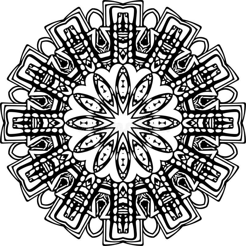 Mandala em linhas pretas ilustração do vetor