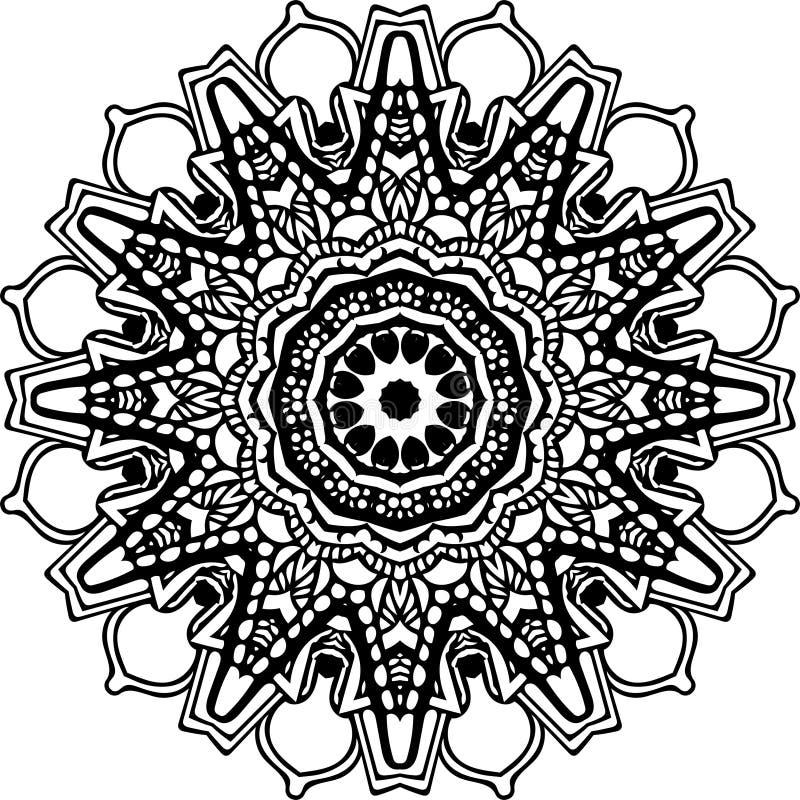 Mandala em linhas pretas ilustração stock
