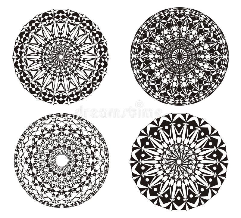 Mandala em um preto e branco Fundo da arte Prática espiritual ilustração royalty free
