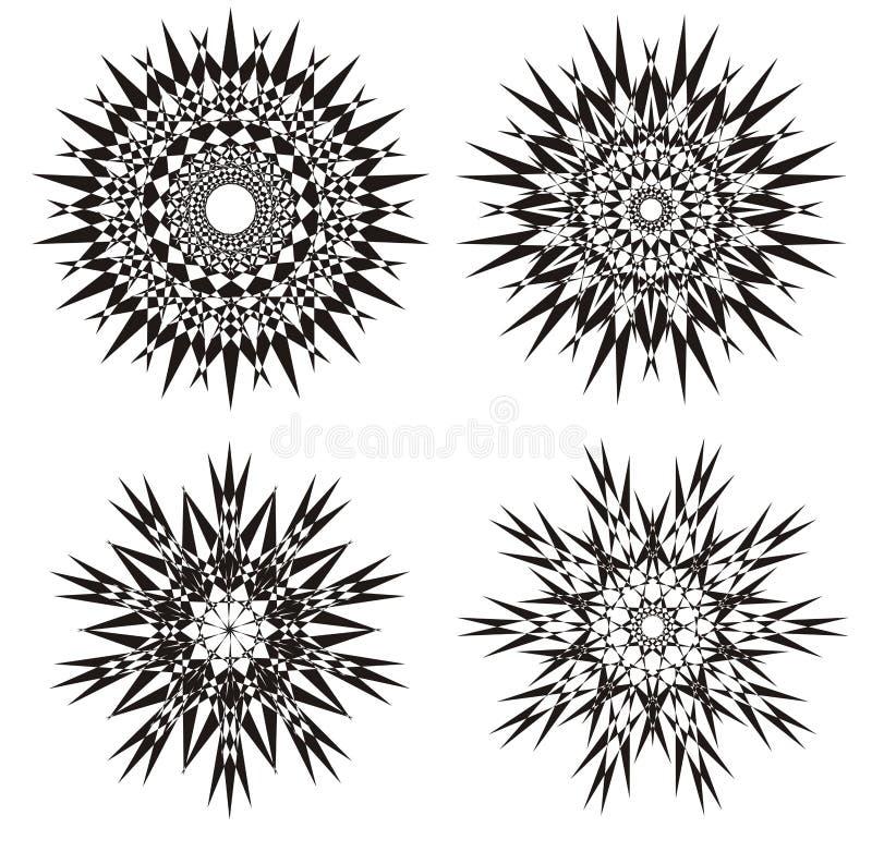 Mandala em um preto e branco Fundo do projeto Prática espiritual Abstraia o ornamento ilustração do vetor