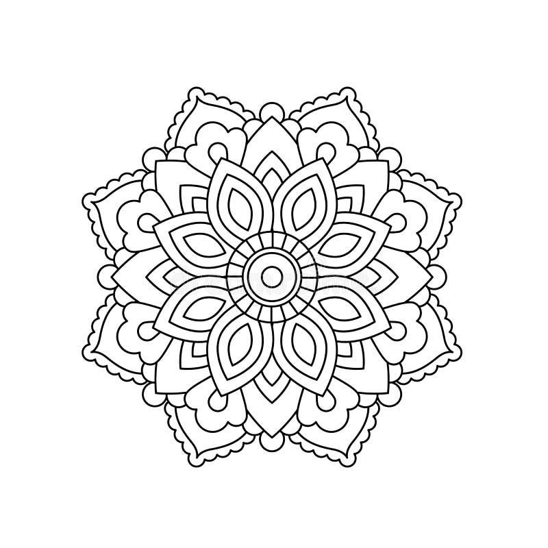 Mandala en estilo oriental étnico Flor decorativa del vintage para la alheña, materia de la yoga, mehendi, tatuaje, página del li imagen de archivo libre de regalías