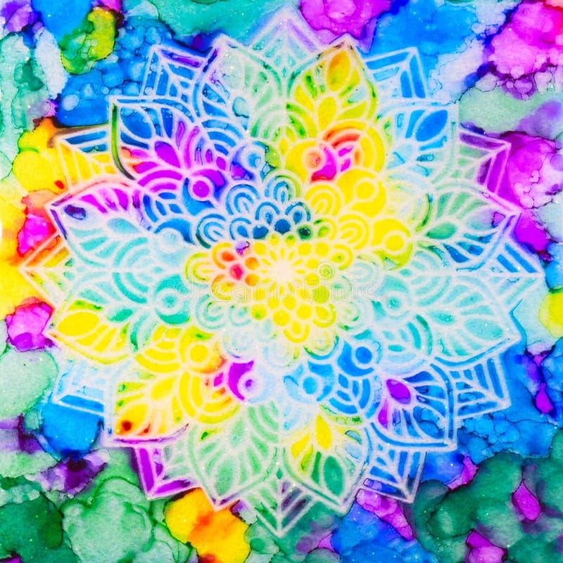 Mandala en fondo del arco iris stock de ilustración