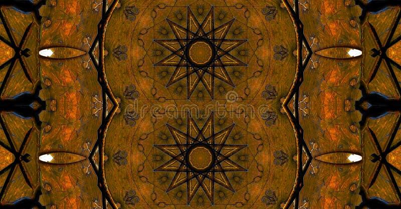 Mandala en forme d'étoile brun et noir foncé photo libre de droits