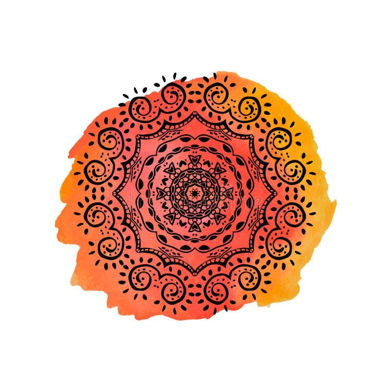 Mandala en la mancha anaranjada de la acuarela Vector el ornamento, elemento decorativo redondo para su diseño stock de ilustración