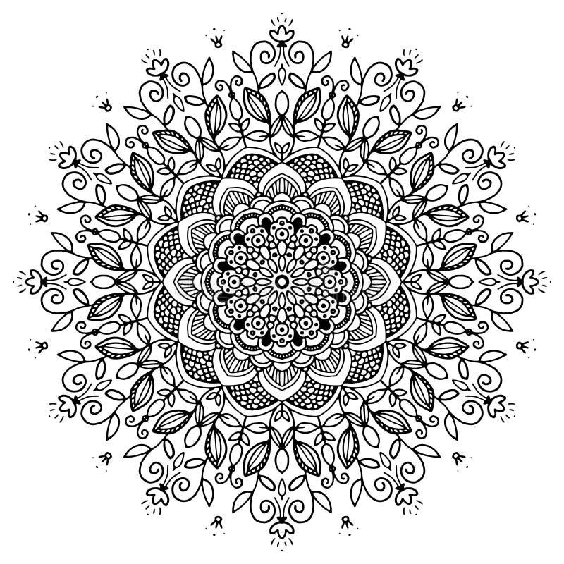 Mandala en noir et blanc image libre de droits
