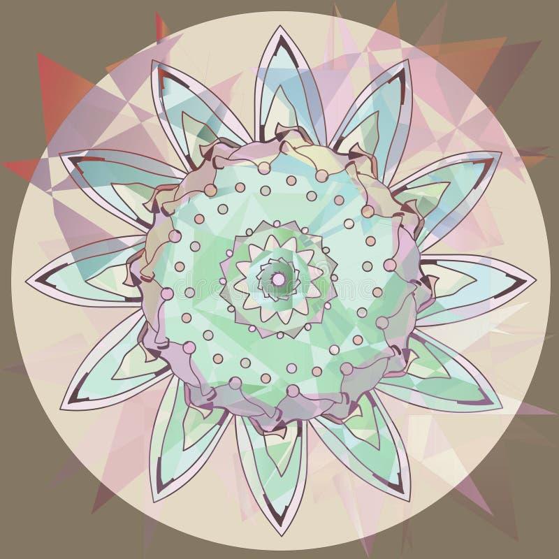 Mandala en un fondo abstracto, marrón claro, beige, marrón, lila, rosa púrpura, azul claro, suave del girasol stock de ilustración