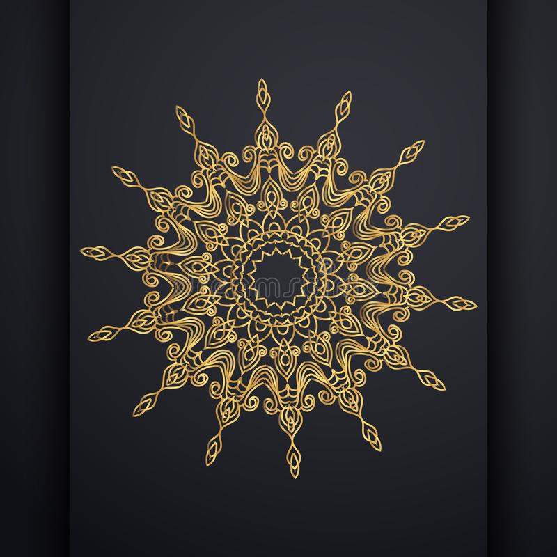 Mandala-Entwurfsluxushintergrund des Vektors dekorativer in der Goldfarbe Orientalischer Vektor, Anti-Drucktherapiemuster Webartd lizenzfreie abbildung