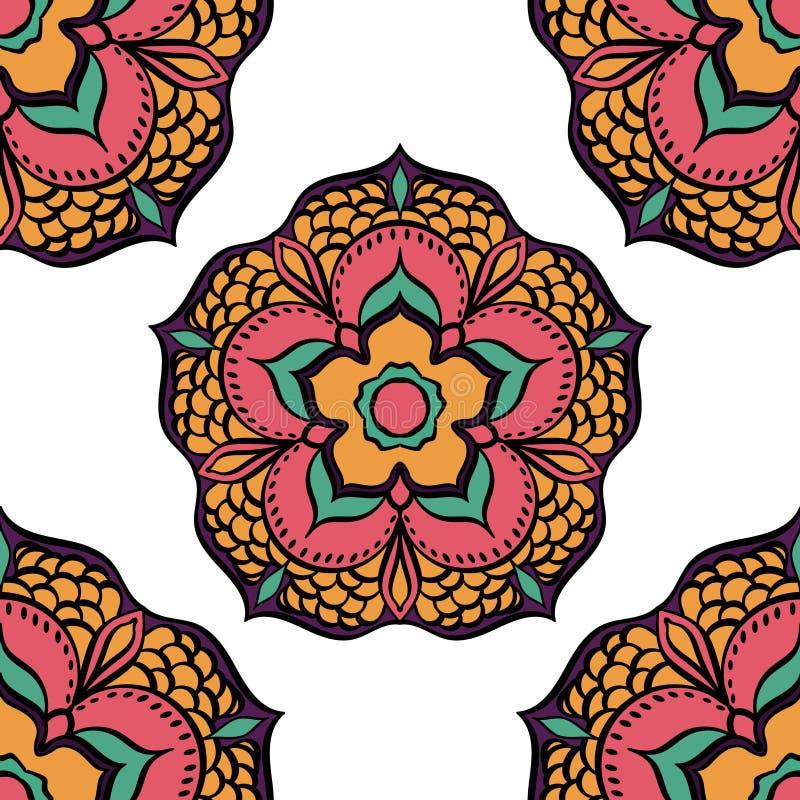 Mandala Ethnic blom- sömlös modell royaltyfri illustrationer