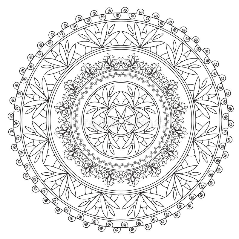 Mandala ethnique noir de coloration illustration stock