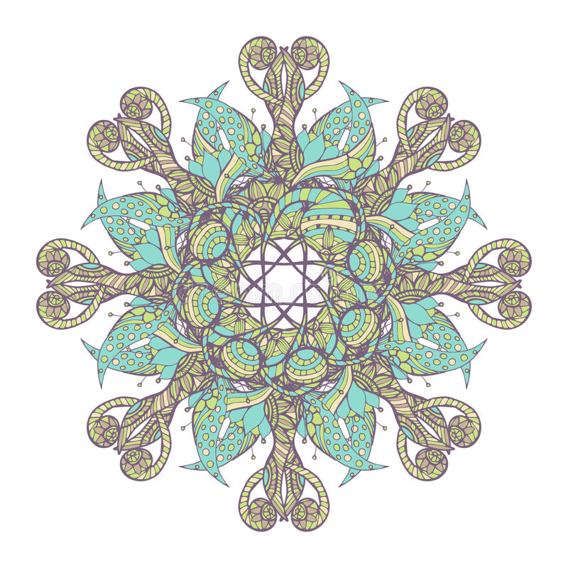 mandala Etnisch kant om sierpatroon Mooie hand getrokken bloem stock illustratie