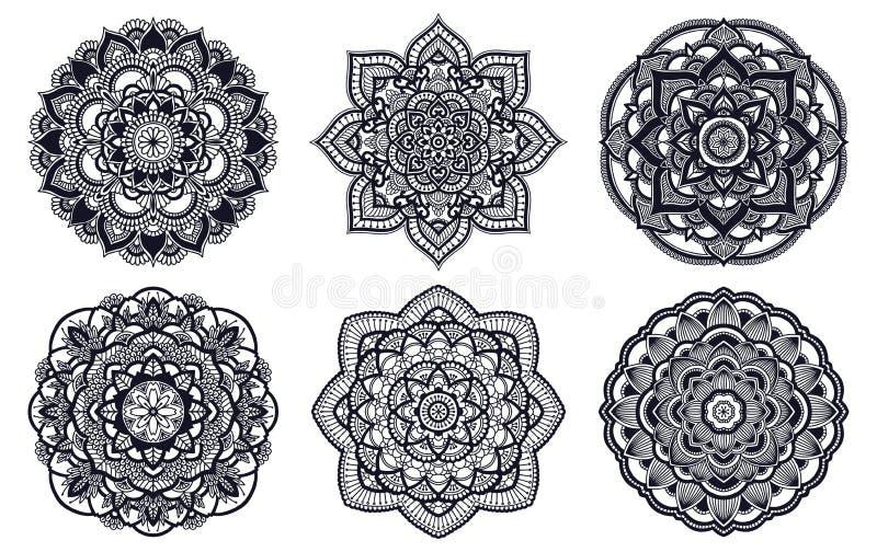 mandala Etnisch rond ornament Hand getrokken Indisch motief Het thema van de de yogahenna van de Mehendimeditatie Unieke bloemend vector illustratie