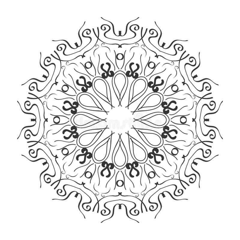 mandala Etnisk dekorativ best?ndsdel Hand dragen bakgrund Islam arabiska, indier, ottomanmotiv Boho stil Mono f?rg stock illustrationer