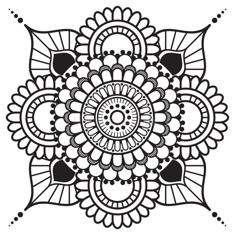 Mandala för beståndsdel för hennamehnditatoo blom- i indisk stil royaltyfri illustrationer