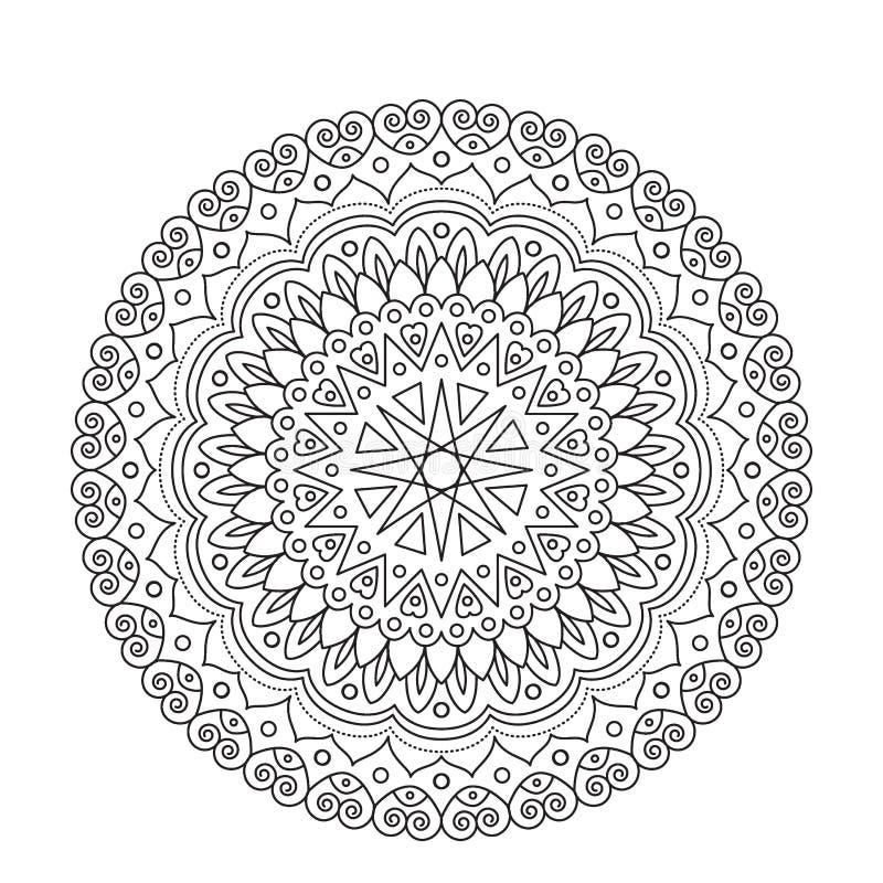 Mandala för färgläggningbok Cirkeln snör åt prydnaden, den dekorativa modellen för rundan, svartvit design vektor för sidavuxna m vektor illustrationer