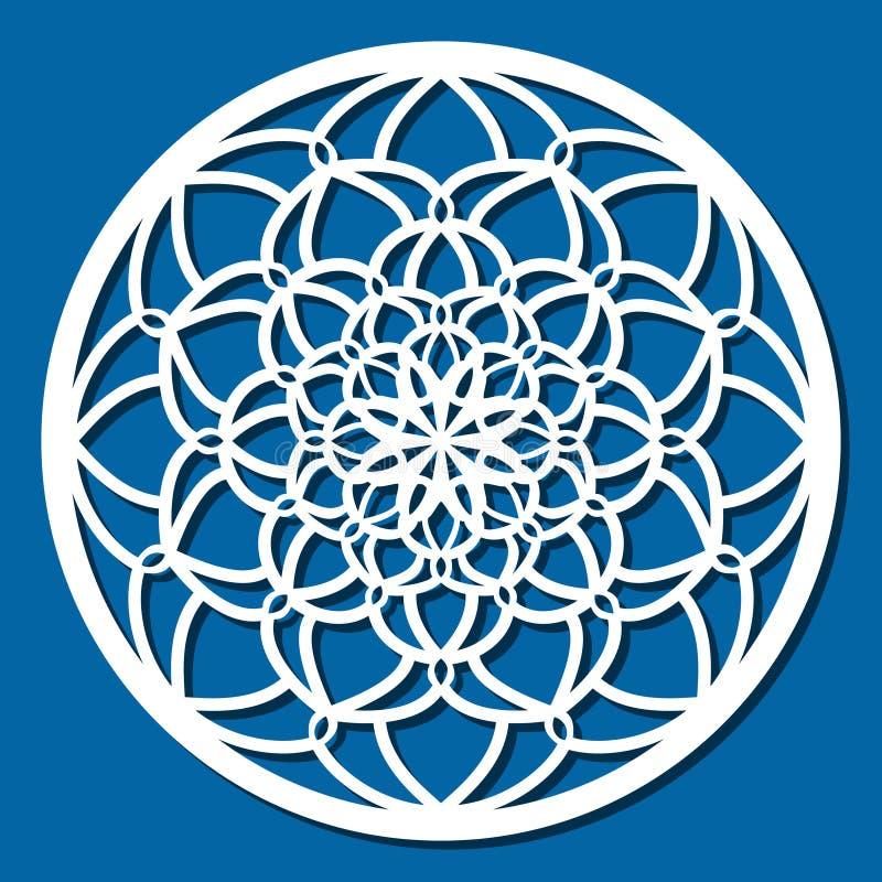 Mandala för prydnad för vektorstencil spets- rund med snidit openwork royaltyfri illustrationer