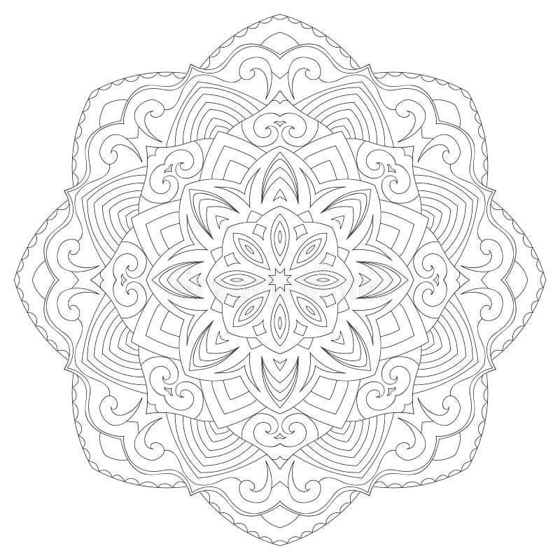 Mandala för sidan för färgläggningbok för ungar och vuxna människor vektor illustrationer