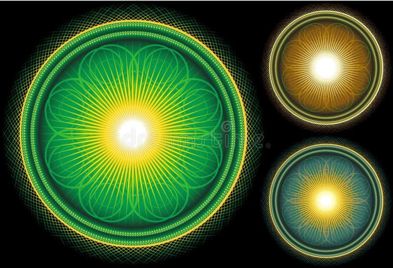 mandala för svart ljus cirkel för bakgrund glansig royaltyfri illustrationer