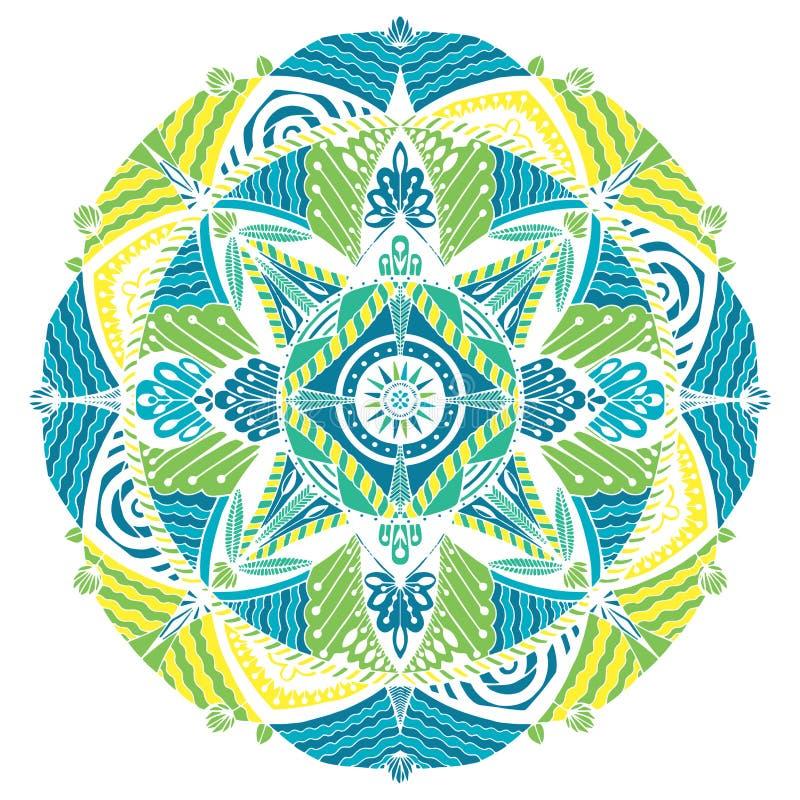 Mandala för vektordiagram med etniska bevekelsegrunder royaltyfri illustrationer